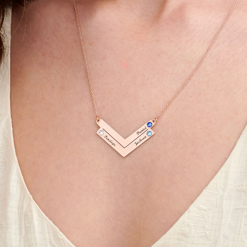 Swarovski Personalized Family Necklace in Rose Gold Plating - 2
