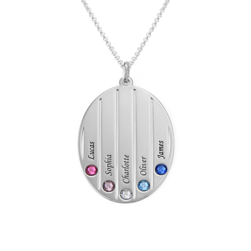 Engraved Family Necklace with Swarovski Stones in Sterling Silver