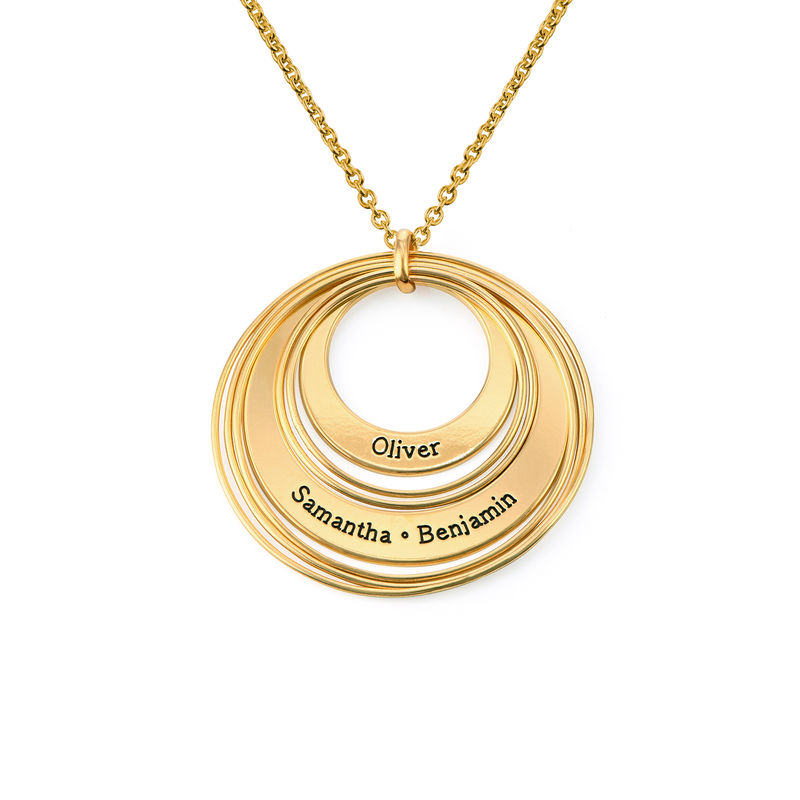 Engraved Two Ring Necklace in 18K Gold Plating