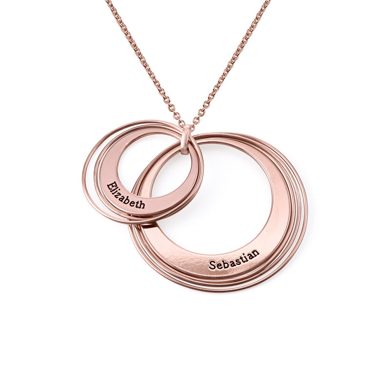 Engraved Two Ring Necklace in 18K Rose Gold Plating - 1