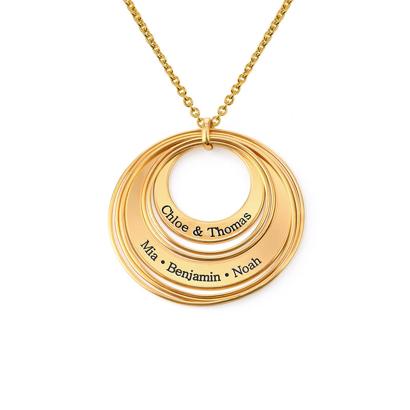 Engraved Two Ring Necklace in 18K Gold Vermeil