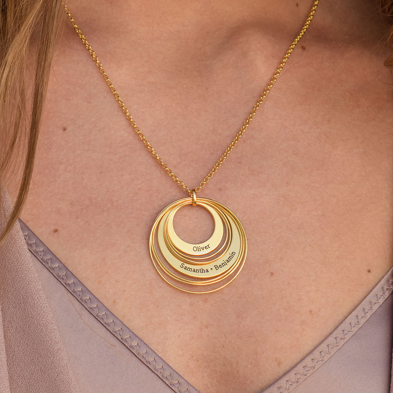 Engraved Two Ring Necklace in 18K Gold Vermeil - 3