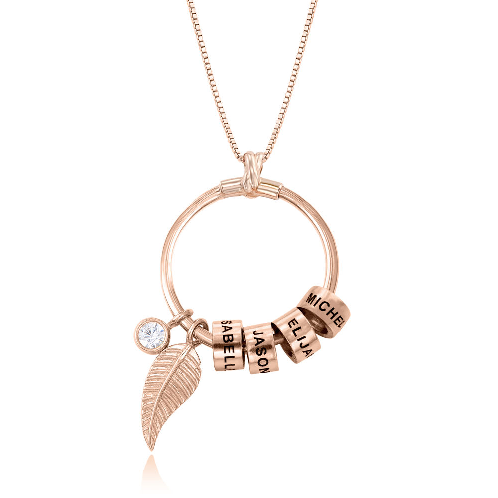 Linda Circle Pendant Necklace in 18k Rose Gold Plating - 1