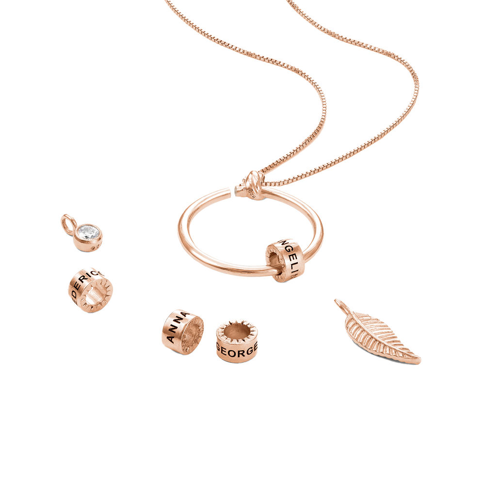 Linda Circle Pendant Necklace in 18k Rose Gold Plating - 3