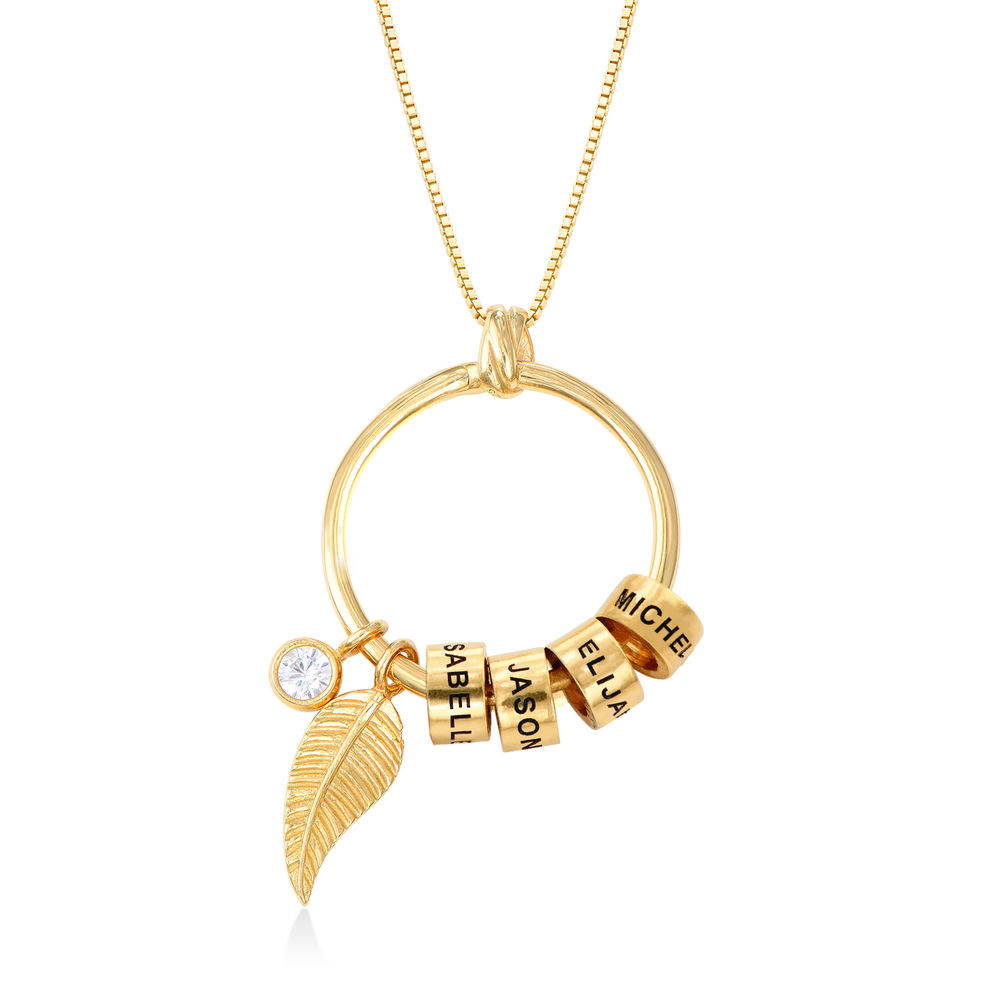 Linda Circle Pendant Necklace in Gold Plating with Lab – Created Diamond