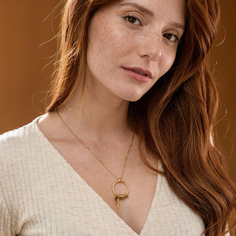 Linda Circle Pendant Necklace in 18k Gold Vermeil - 4