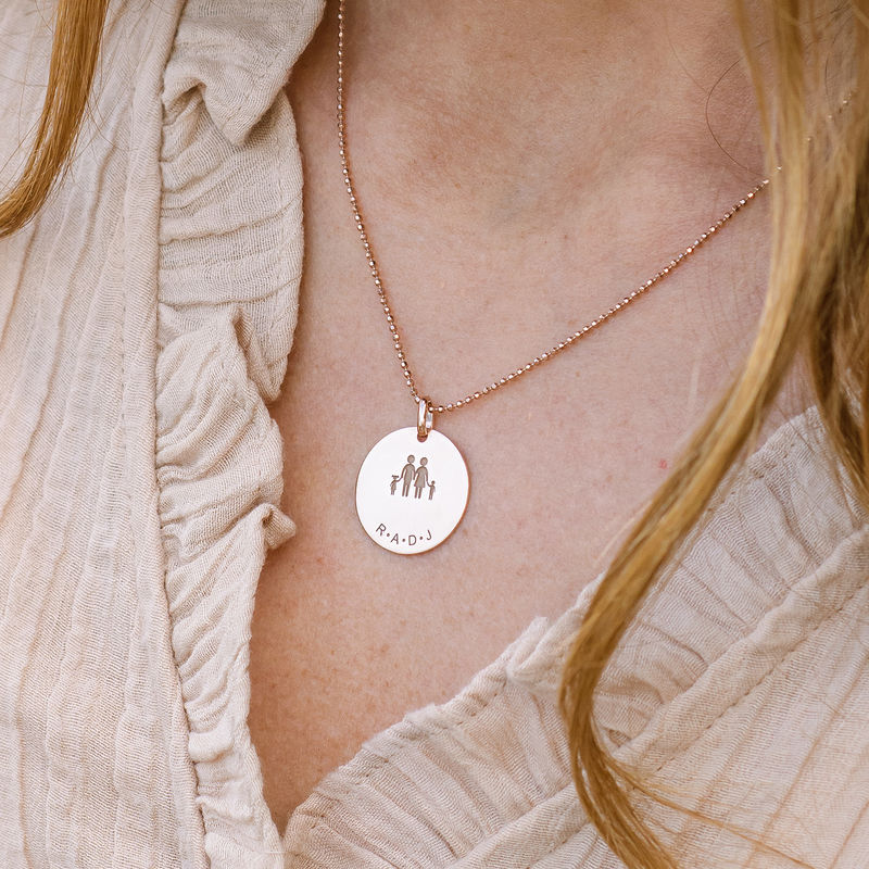 Family Necklace for Mom in 18K Rose Gold Plating - 3