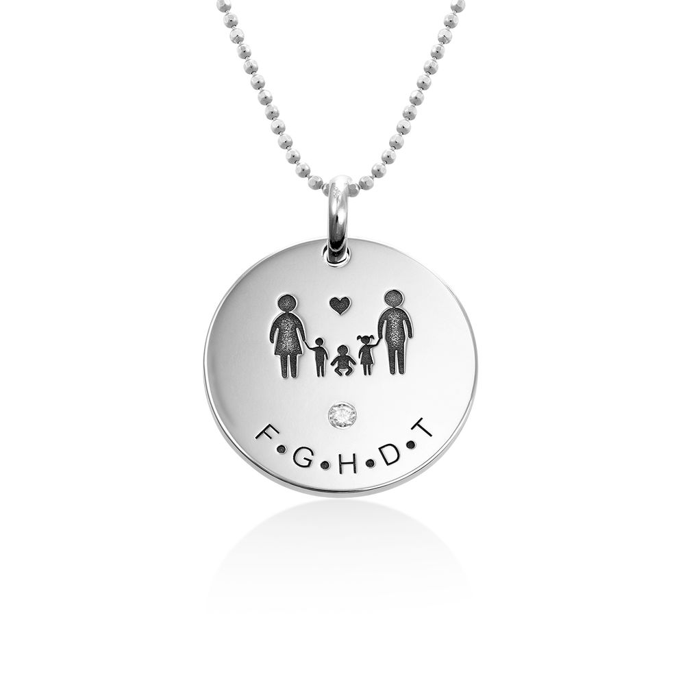 Family Necklace for Mom in Sterling Silver with Diamond