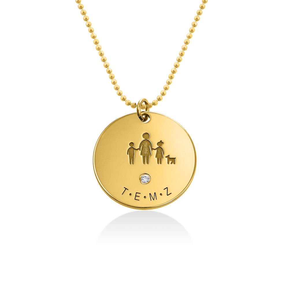 Family Necklace for Mom in 18k Gold Plated with Diamond