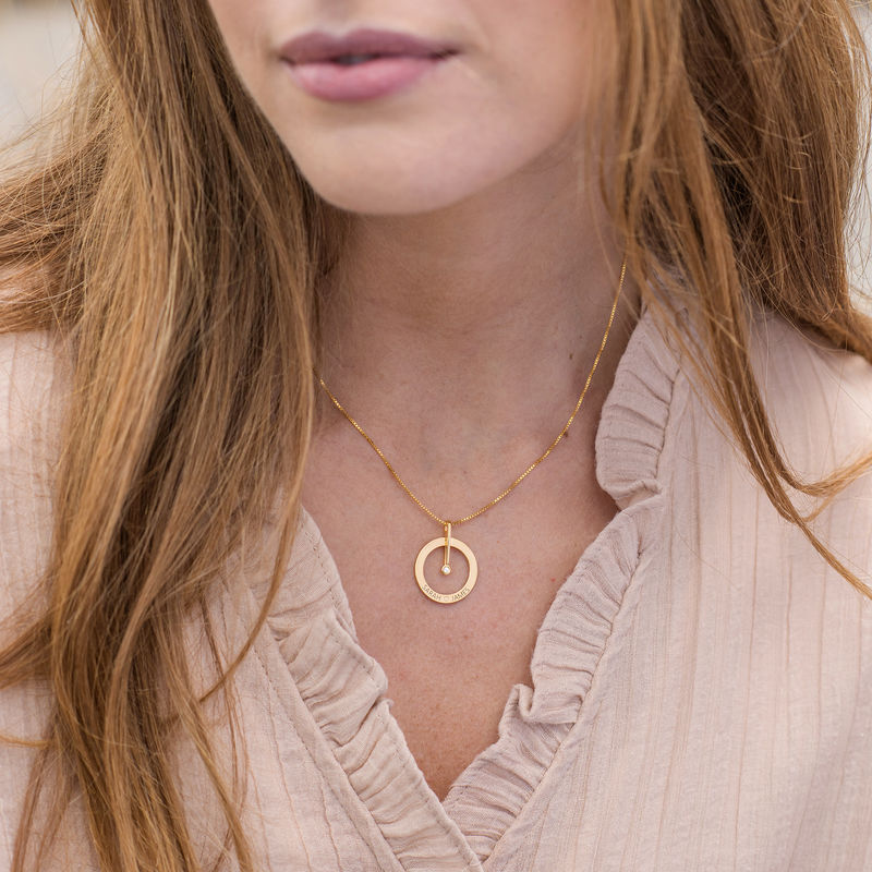 Personalized Circle Necklace with Diamond in 18K Gold Vermeil - 2