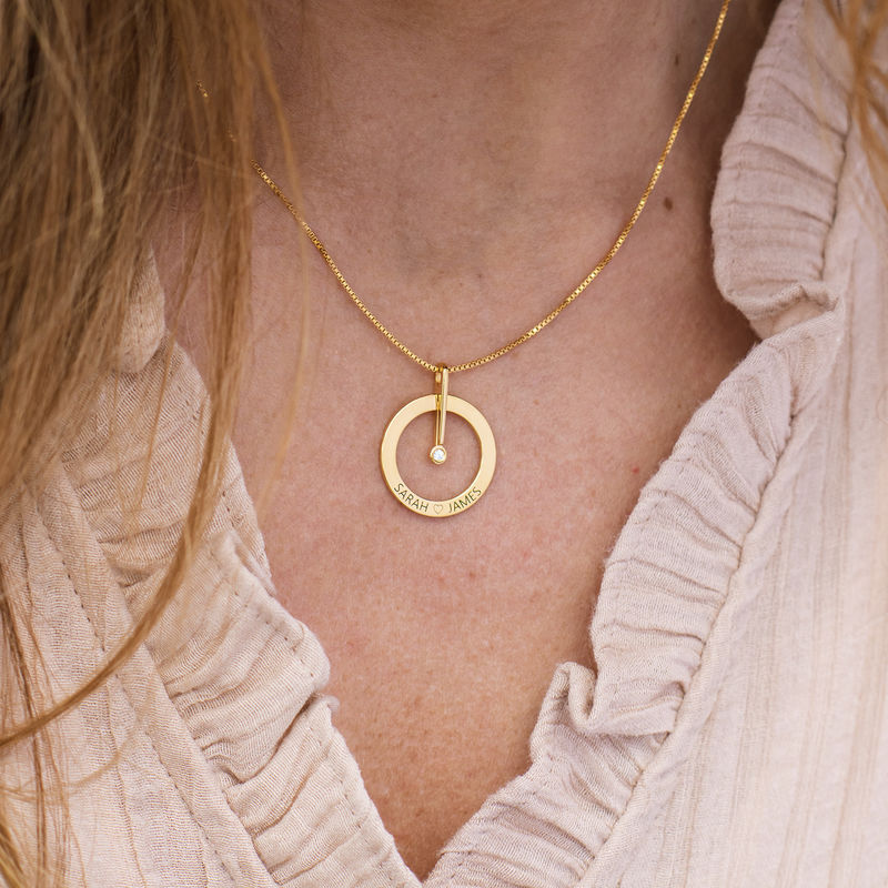 Personalized Circle Necklace with Diamond in 18K Gold Vermeil - 3