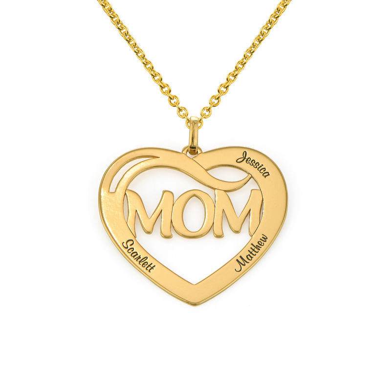 Mom Heart Necklace with Kids Names in 18K Gold Plating