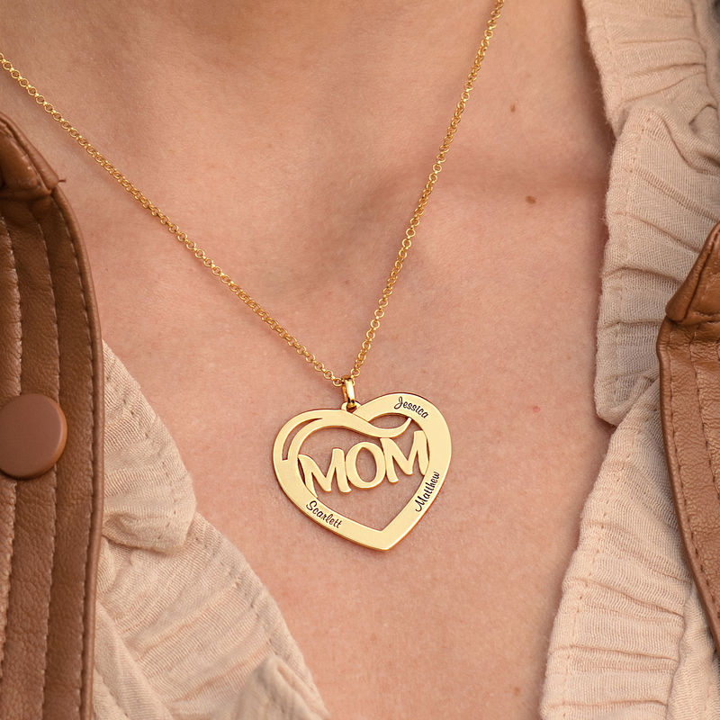 Mom Heart Necklace with Kids Names in 18K Gold Plating - 2