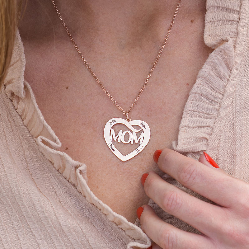 Mom Heart Necklace with Kids Names in 18K Rose Gold Plating - 2