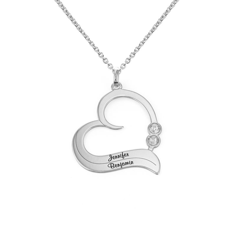 Personalized Birthstone Heart Necklace in Sterling Silver