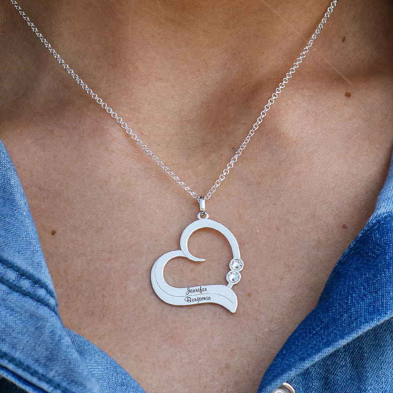 Personalized Birthstone Heart Necklace in Sterling Silver - 2