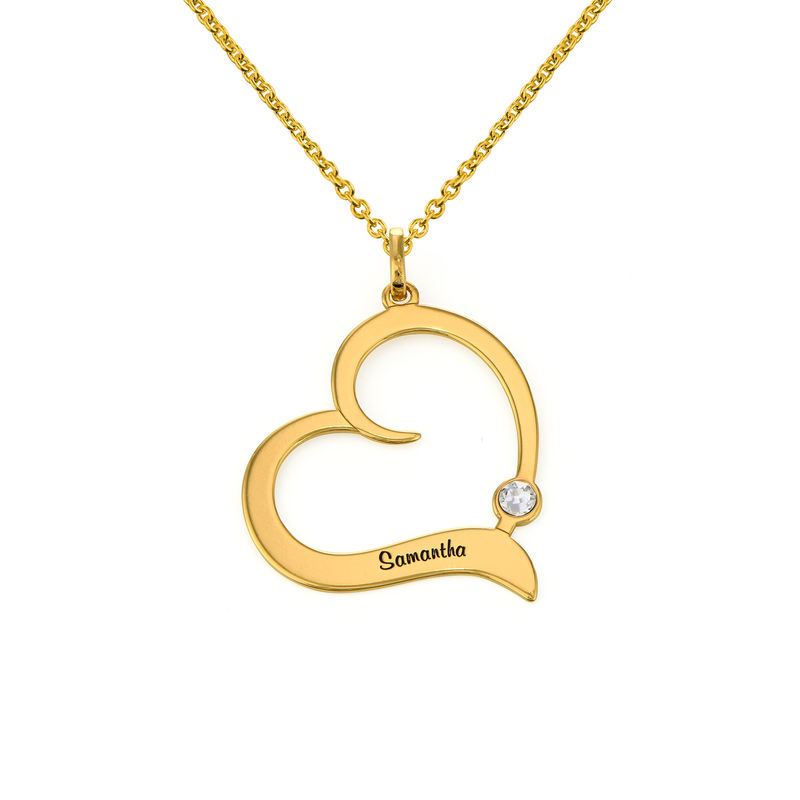 Personalized Birthstone Heart Necklace in 18K Gold Vermeil