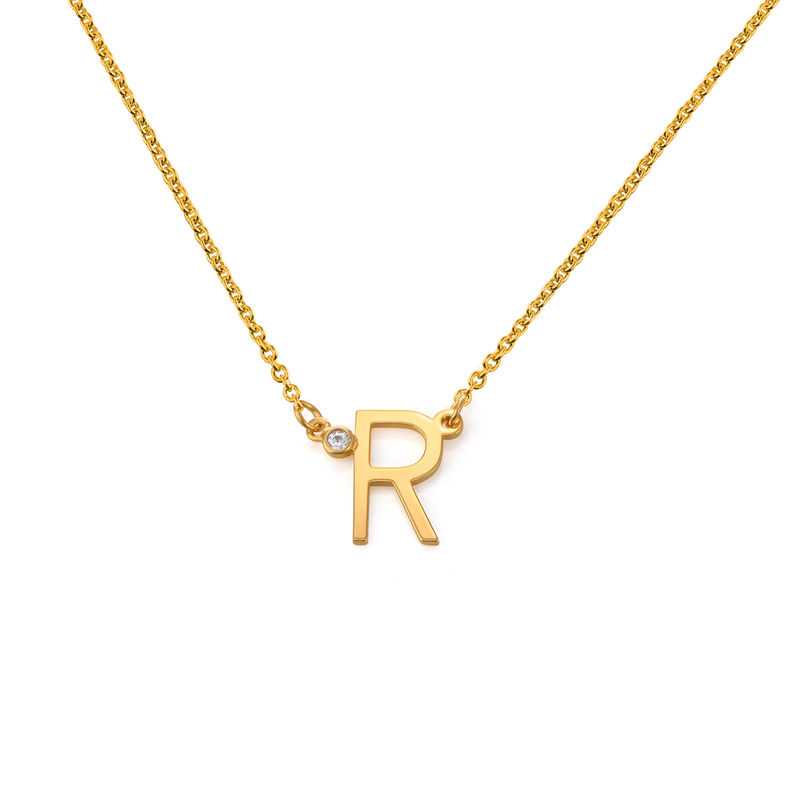 Initial Pendant Necklace with Cubic Zirconia in 18K Gold Plating - 1