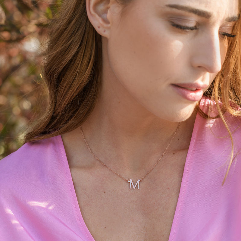 Initial Pendant Necklace with Cubic Zirconia in 18K Rose Gold Plating - 2