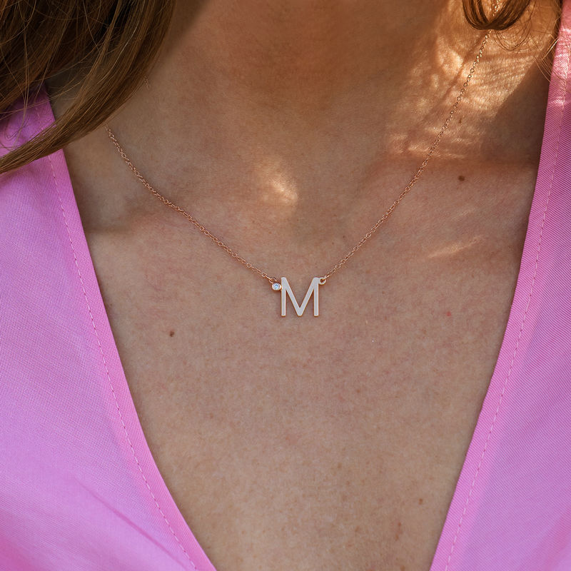 Initial Pendant Necklace with Cubic Zirconia in 18K Rose Gold Plating - 3