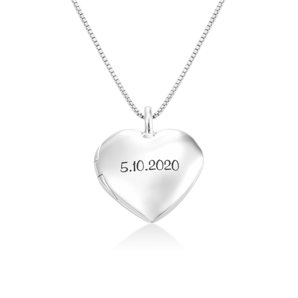 Heart Pendant Necklace with Engraving in Sterling Silver - 1