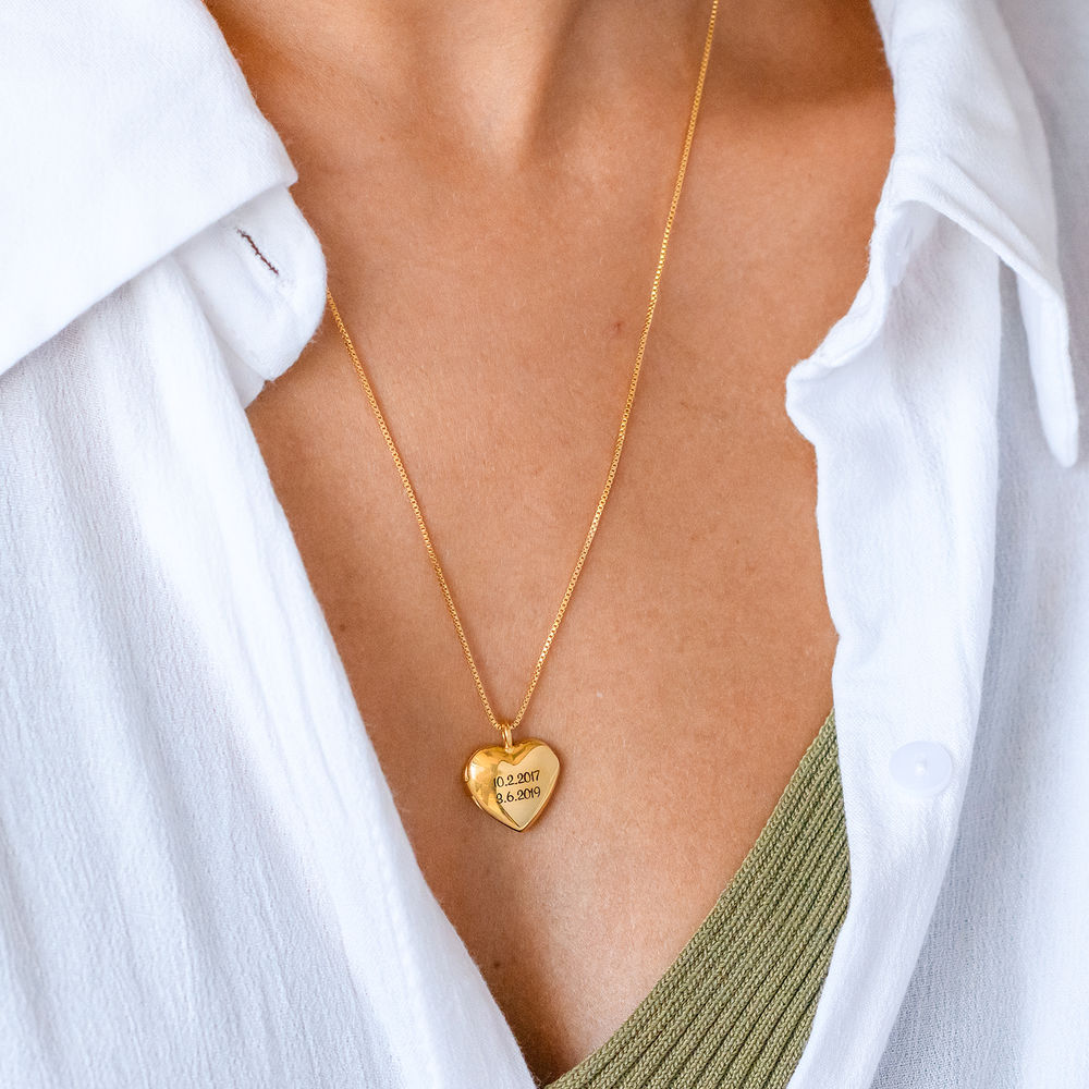Heart Pendant Necklace with Engraving in Gold Plated - 3