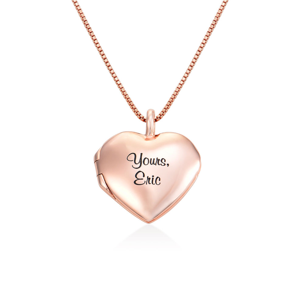 Heart Pendant Necklace with Engraving in Rose Gold Plated
