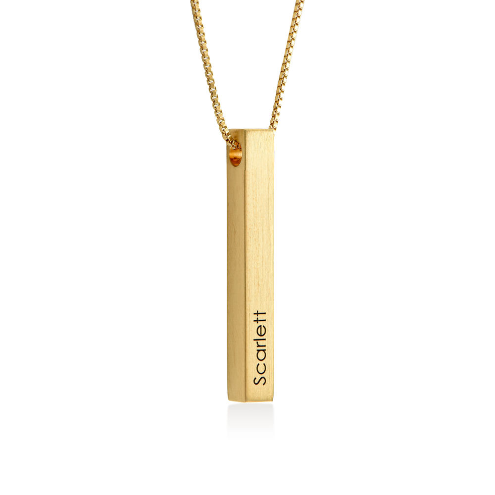 Custom 3D Bar Necklace Matte in Gold Vermeil