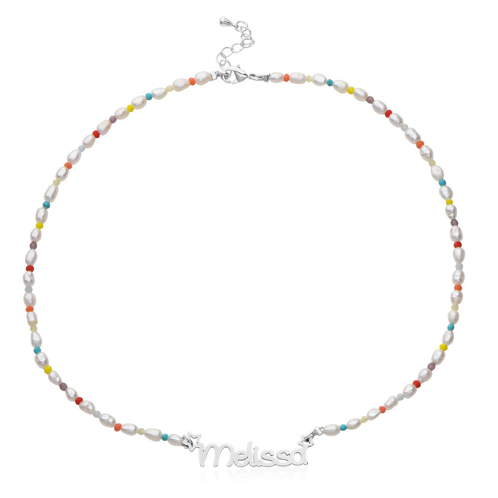 Pearl Candy Girls Name Necklace in Sterling Silver - 1