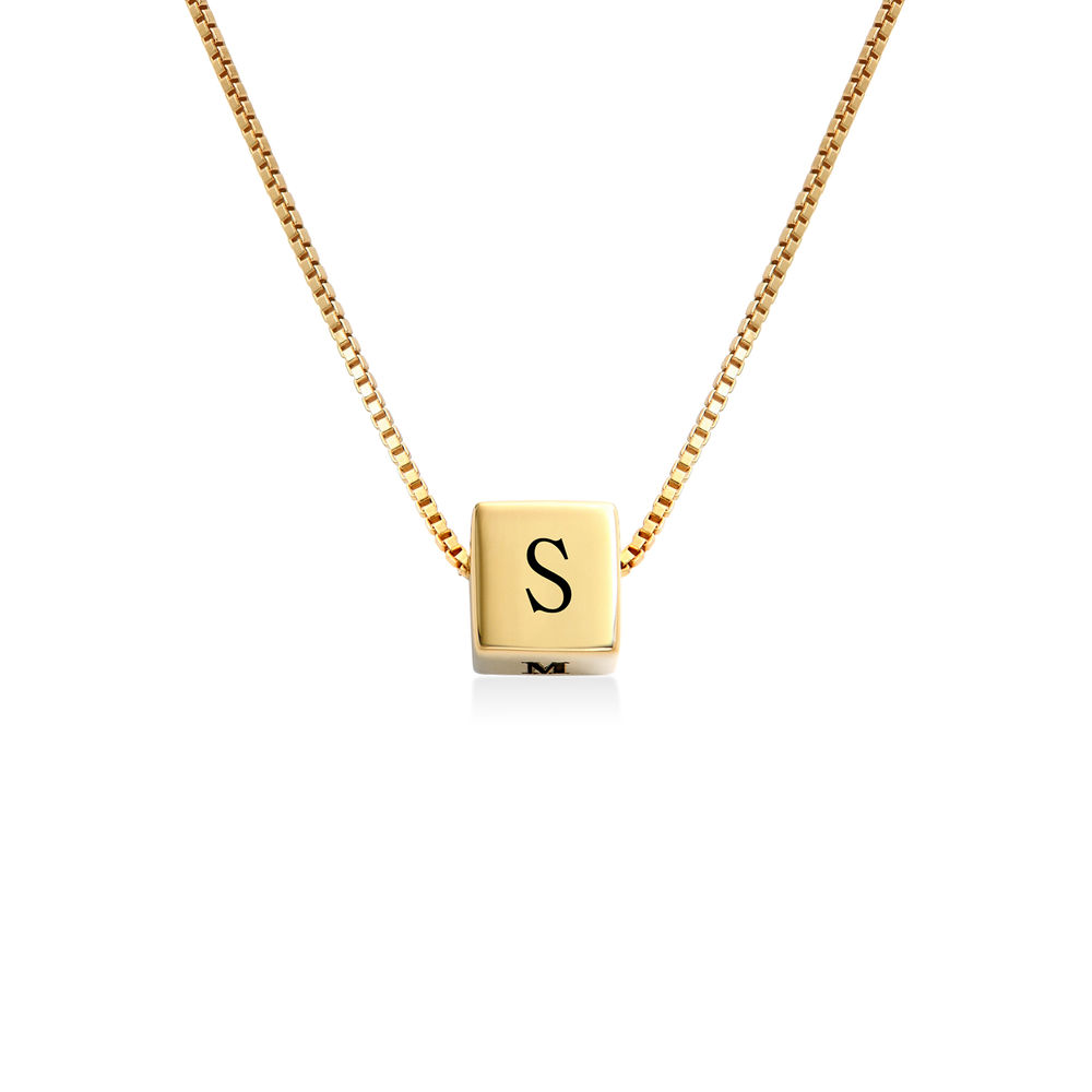Blair Initial Cube Necklace in Gold Vermeil