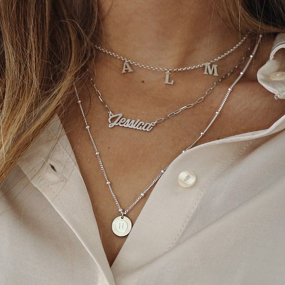 Chain Link Script Name Necklace in Sterling Silver - 3