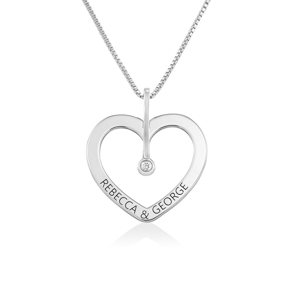 Personalized Love Necklace with Diamond in Sterling Silver