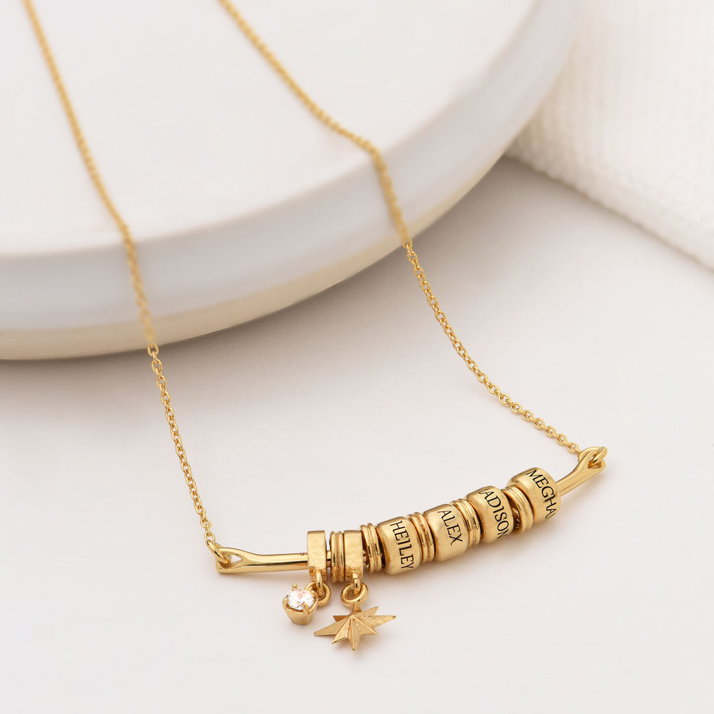 North Star Smile Bar Necklace in Gold Plating - 1