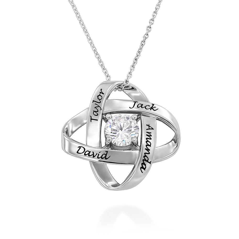 Engraved Eternal Necklace with Cubic Zirconia in Sterling Silver