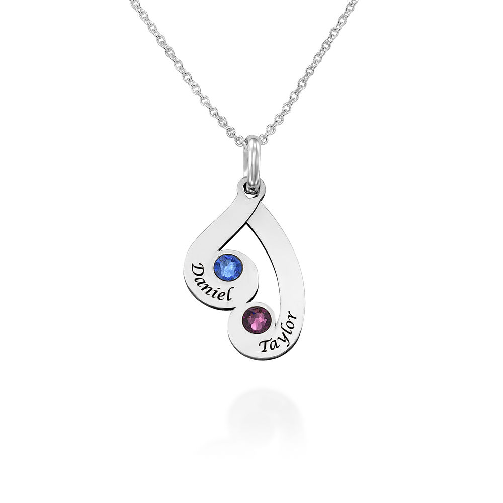 Engraved Family Pendant Necklace with Birthstones in Sterling Silver - 1