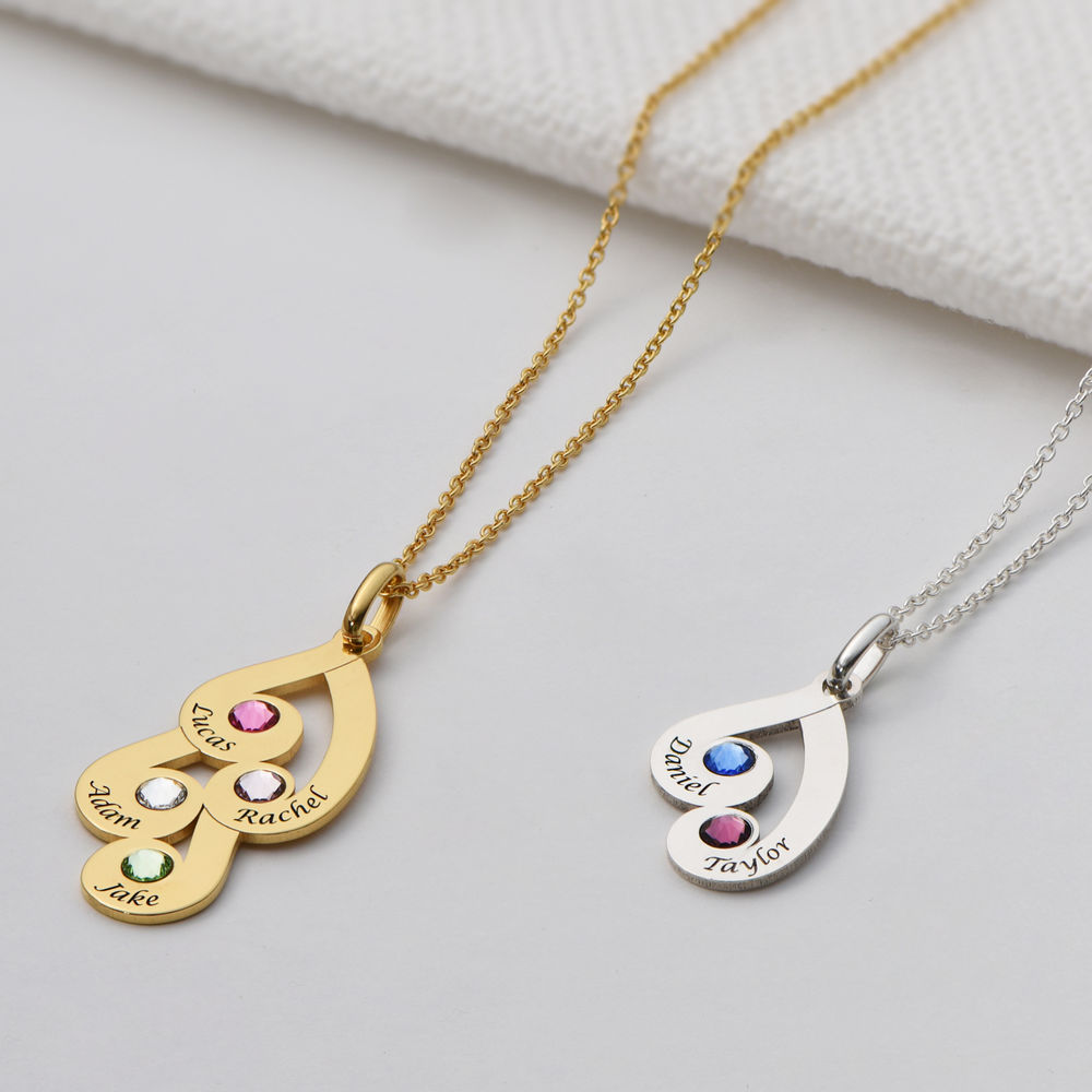 Engraved Family Pendant Necklace with Birthstones in Gold Plating - 2