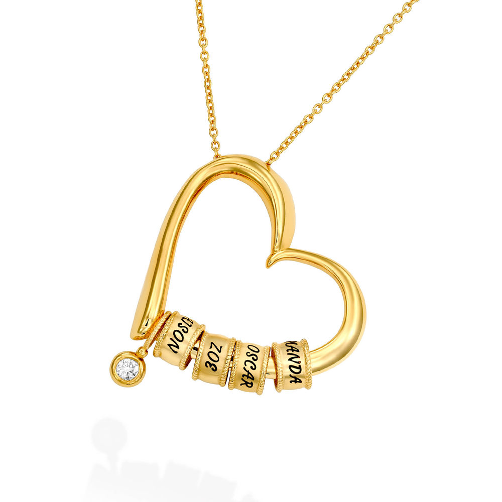 Charming Heart Necklace with Engraved Beads & Diamond in Gold Vermeil