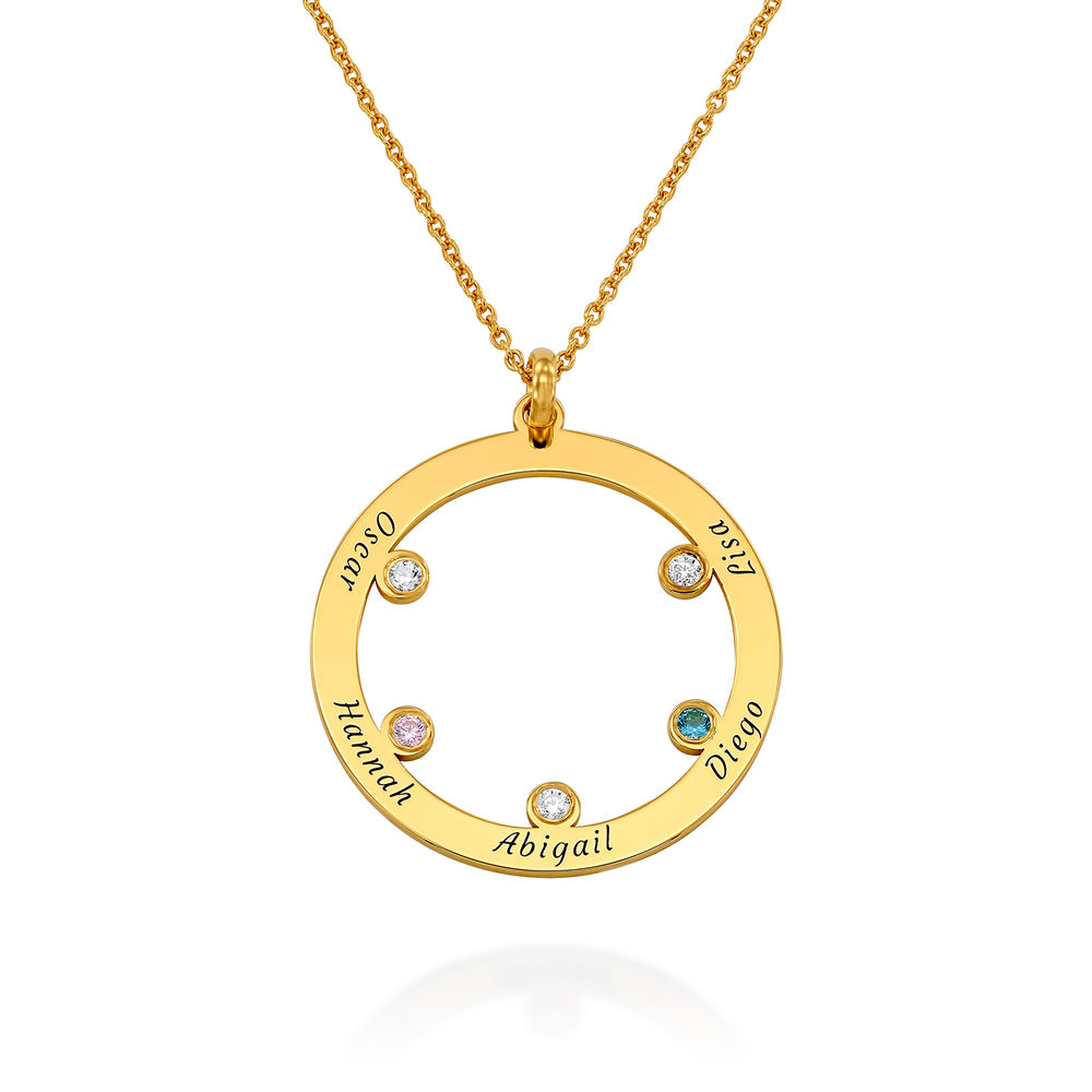The Family Circle Necklace with Birthstones in Gold Plating