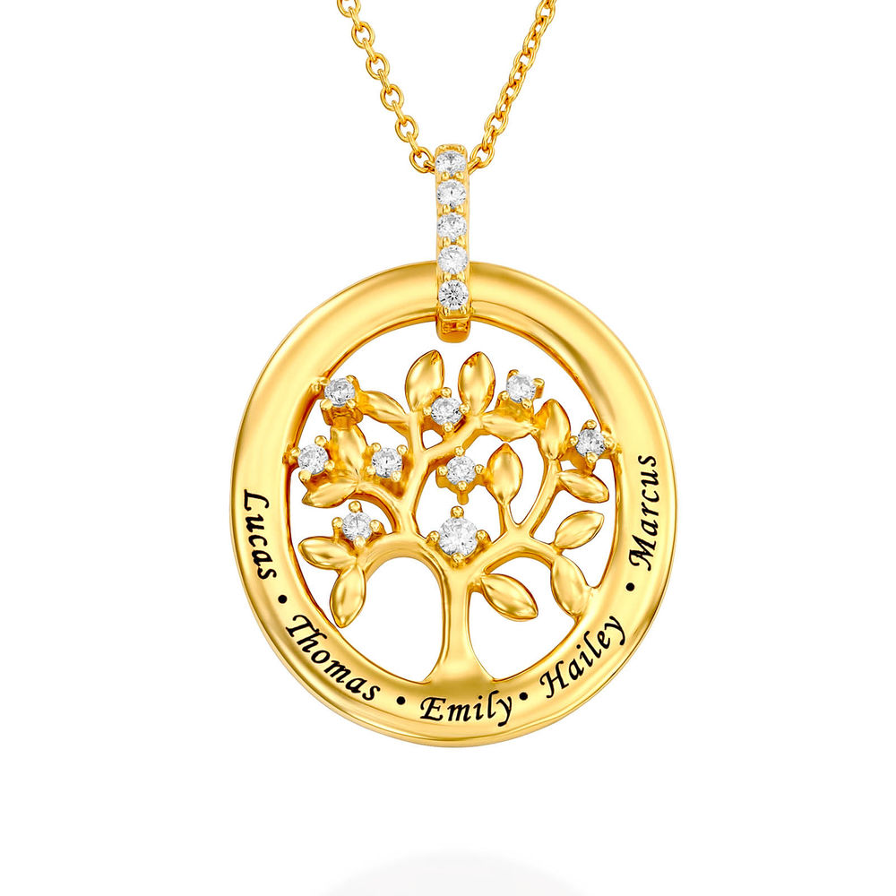 Custom Family Tree Necklace With Cubic Zirconia in Gold Plating