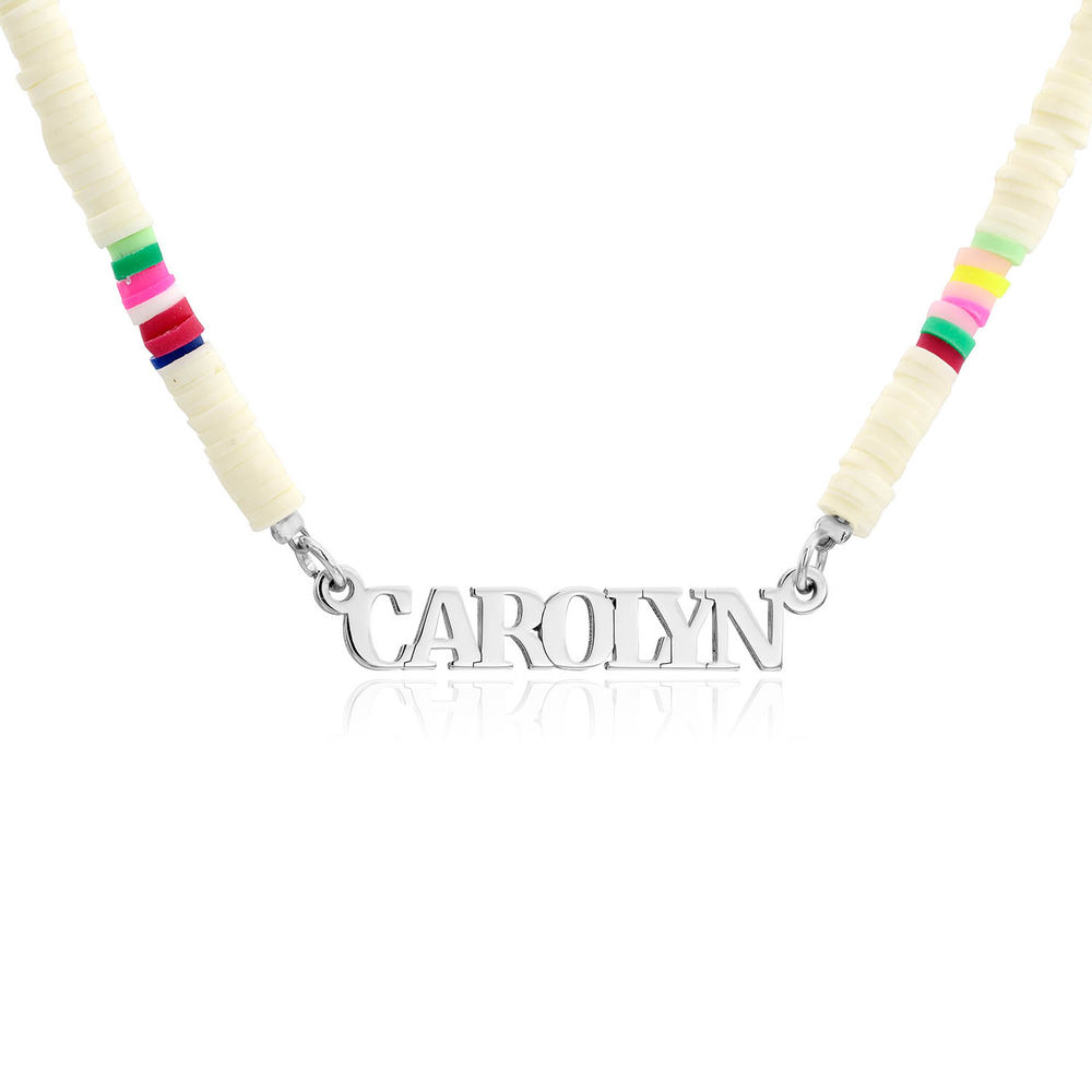 White Bead Name Necklace in Sterling Silver