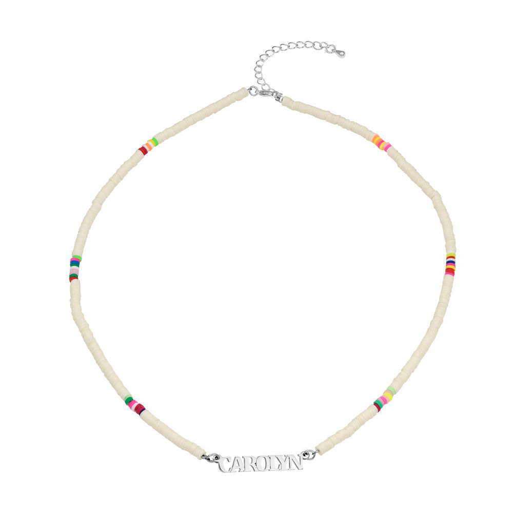 White Bead Name Necklace in Sterling Silver - 1