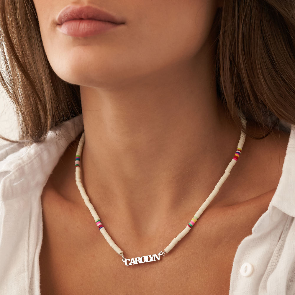 White Bead Name Necklace in Sterling Silver - 3