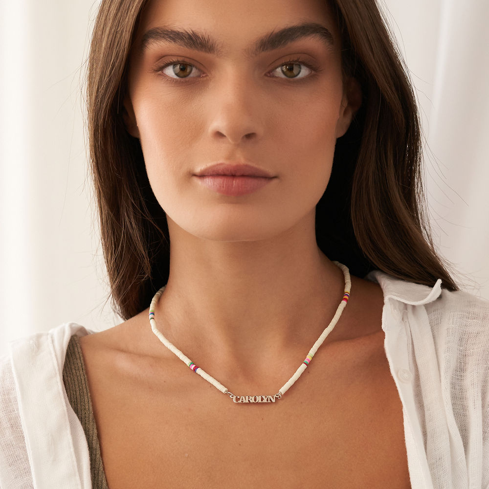 White Bead Name Necklace in Sterling Silver - 5
