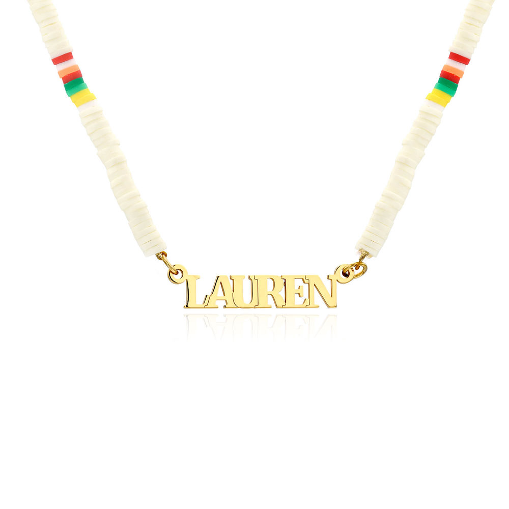 White Bead Name Necklace in Gold Plating