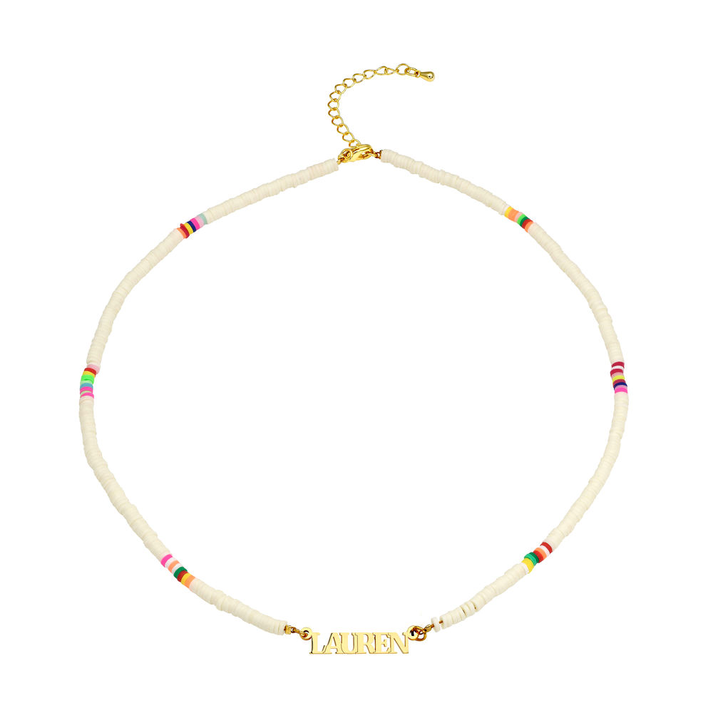 White Bead Name Necklace in Gold Plating - 1