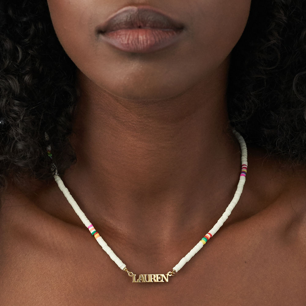 White Bead Name Necklace in Gold Plating - 4