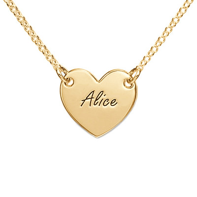 18k Gold Plated Engraved Heart Necklace
