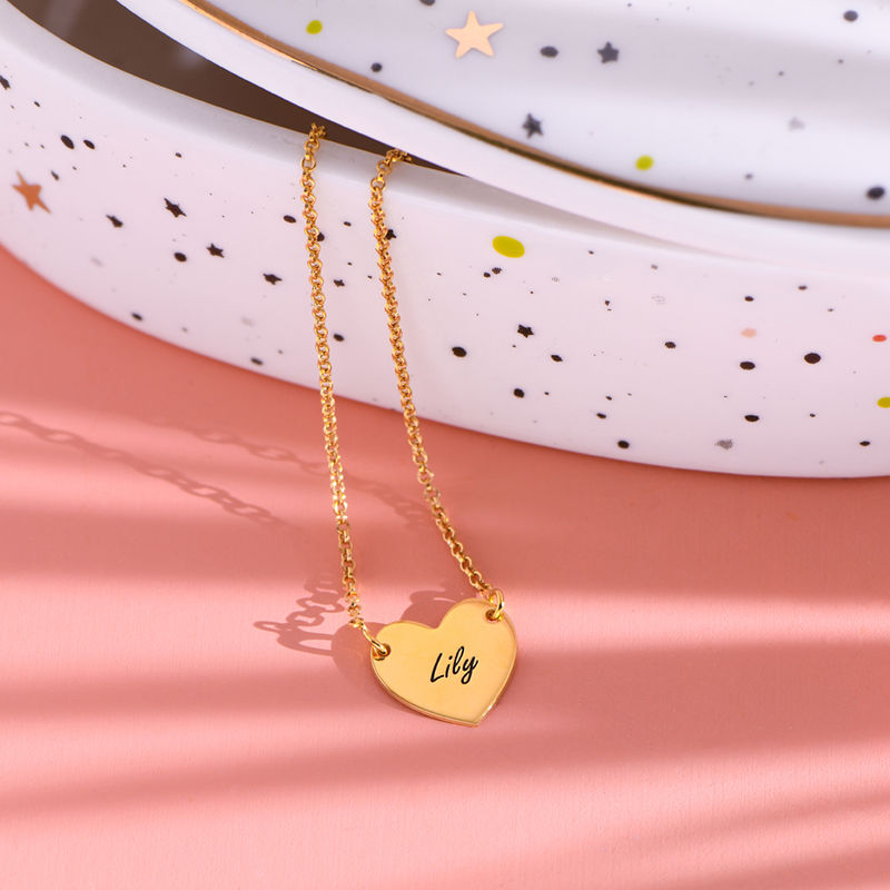 18k Gold Plated Engraved Heart Necklace - 1