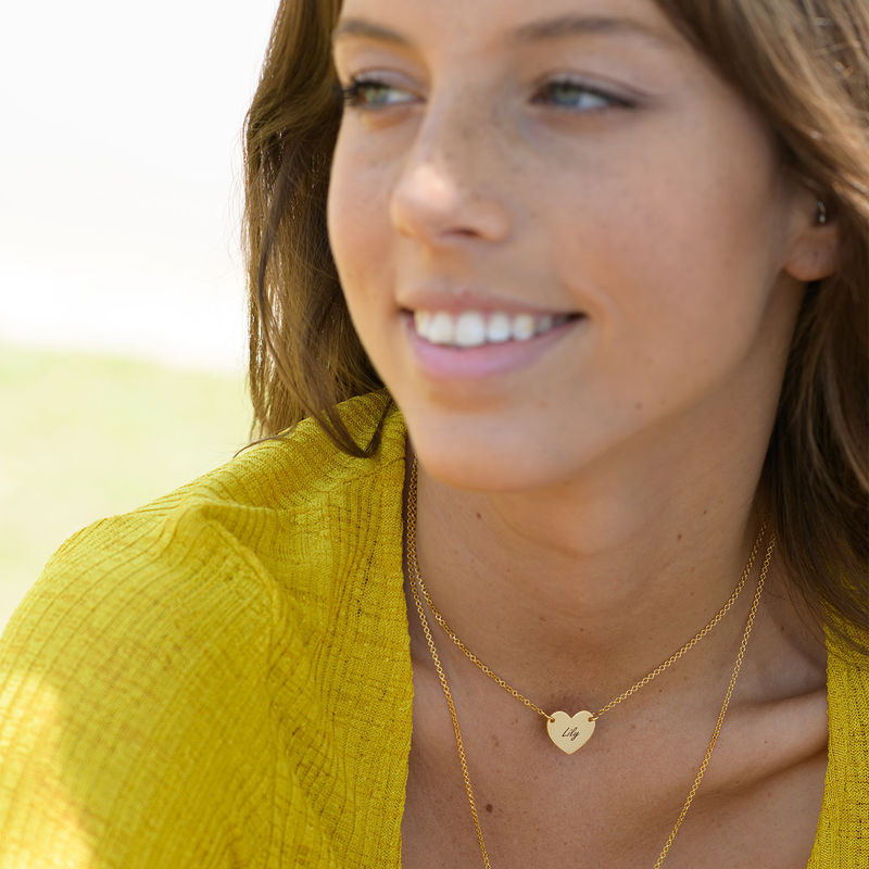 18k Gold Plated Engraved Heart Necklace - 2