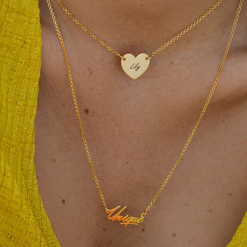 18k Gold Plated Engraved Heart Necklace - 3